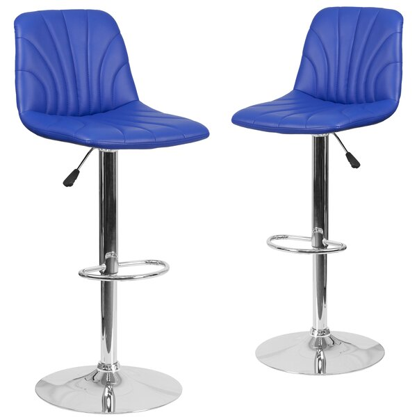 Gruber Adjustable Height Swivel Bar Stool (Set of 2) by Orren Ellis