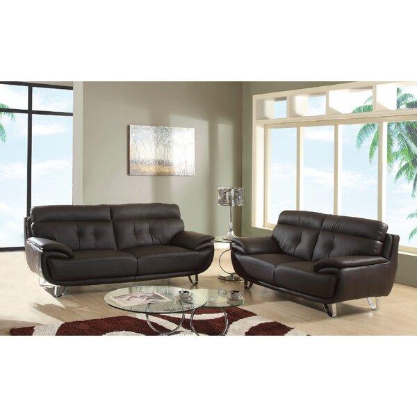 Leather 2 Piece Living Room Set By Orren Ellis