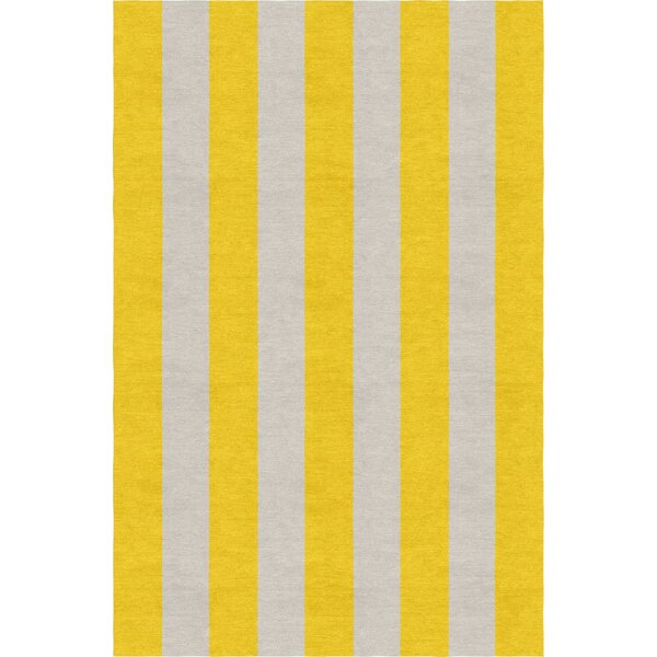 Burnell Hand-Woven Wool Gold/Silver Area Rug by Longshore Tides