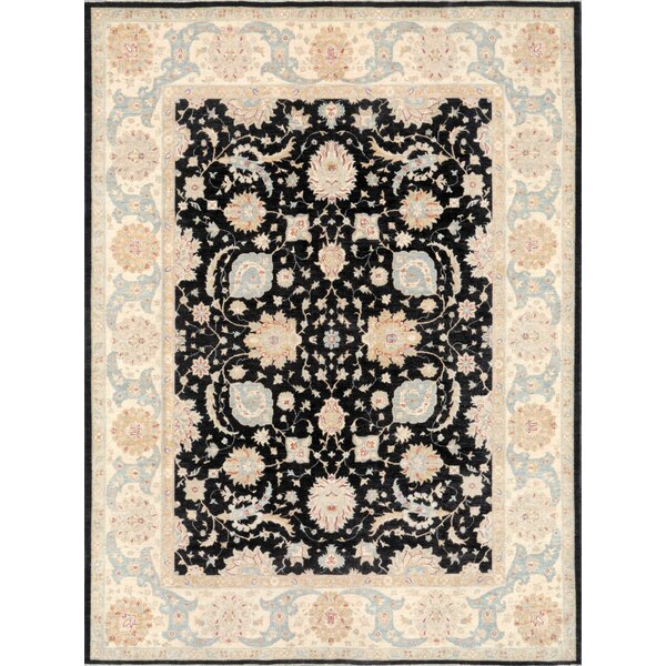 One-of-a-Kind Ferehan Hand-Knotted Black 10' x 12' Wool Area Rug
