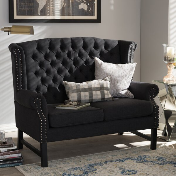 Sussex Tufted Loveseat in Charcoal by Wholesale Interiors