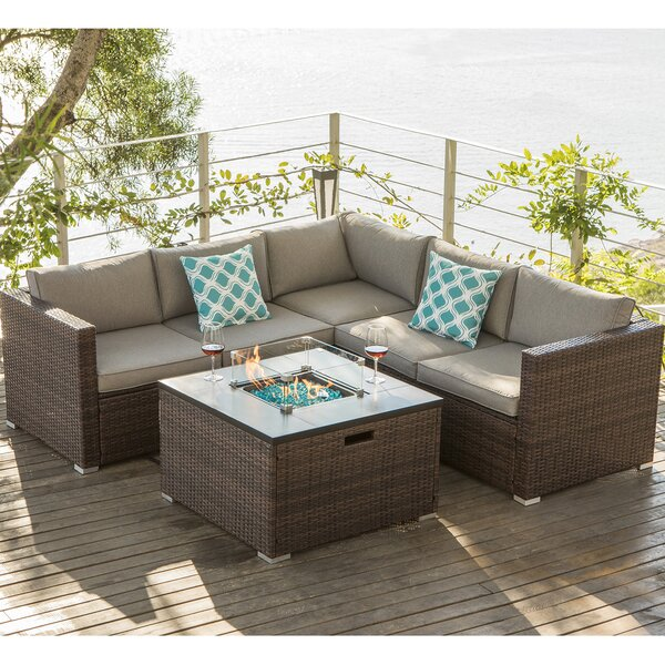 Sabine 6 Piece Rattan Sectional Seating Group with Cushions by Longshore Tides