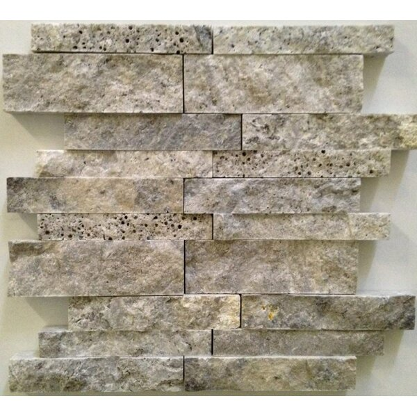 Random Sized Travertine Mosaic Tile in Silver by Ephesus Stones