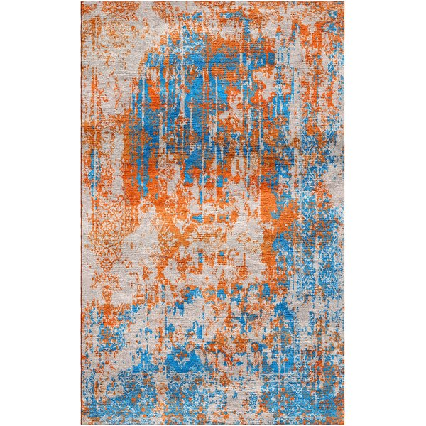 Aliza Handloom Orange/Blue Area Rug by Bungalow Rose