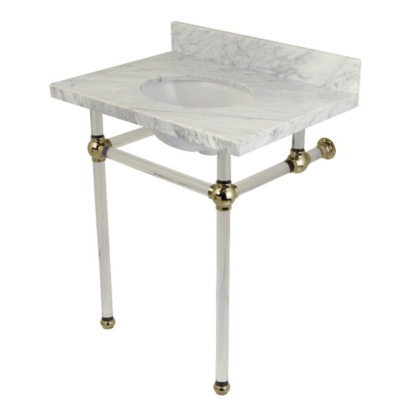 Templeton Carrara Marble Rectangular Undermount Bathroom Sink with Overflow by Kingston Brass