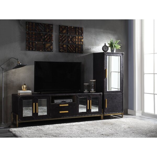 Ludowici Top Grain Leather Entertainment Center for TVs up to 55