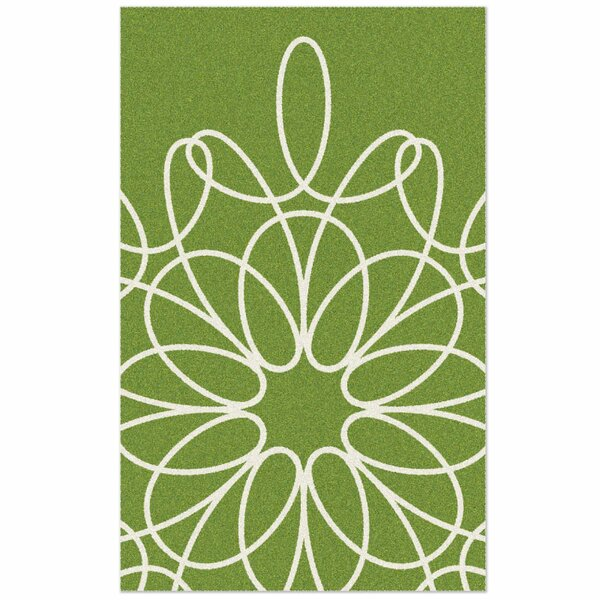 Ribbon Green/White Area Rug by notNeutral