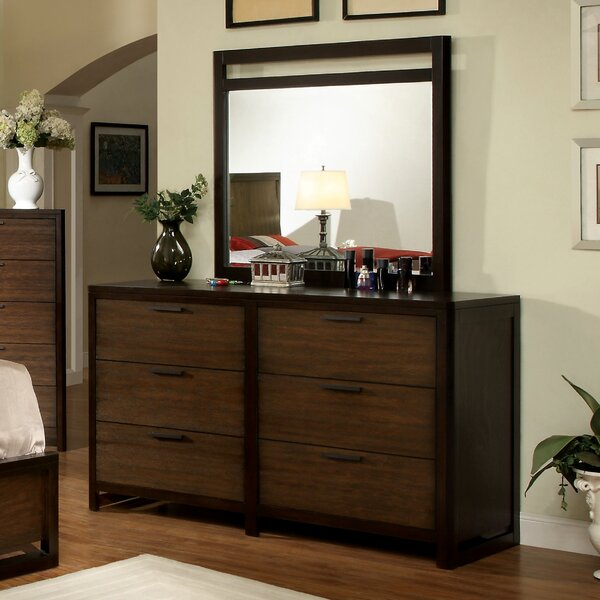 Clanton 6 Drawer Double Dresser with Mirror by Hokku Designs