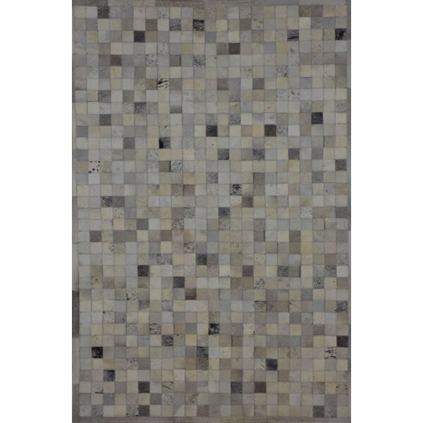 One-of-a-Kind Klahr Hand-Woven Cowhide Gray Area Rug by Latitude Run