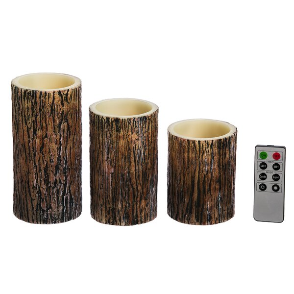 Tree Bark Battery Operated LED 3 Piece Flameless Pillar Candle Set by Loon Peak