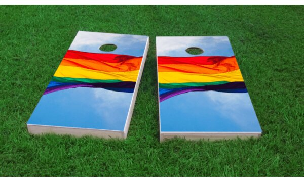 Gay Pride Rainbow Flag in the Sky Cornhole Game (Set of 2) by Custom Cornhole Boards