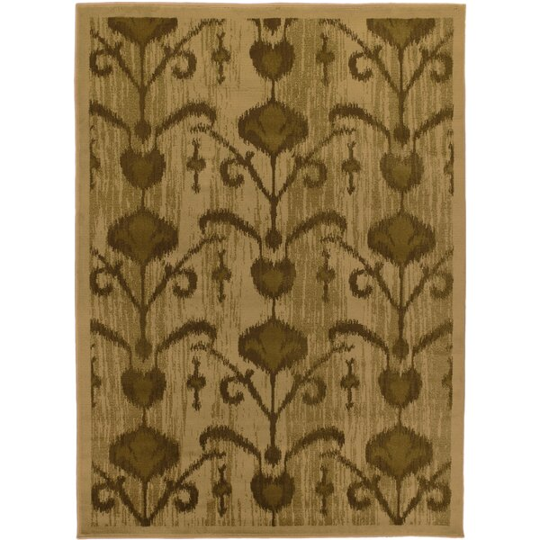 Ikat Vine Light Brown Abstract Area Rug by ECARPETGALLERY