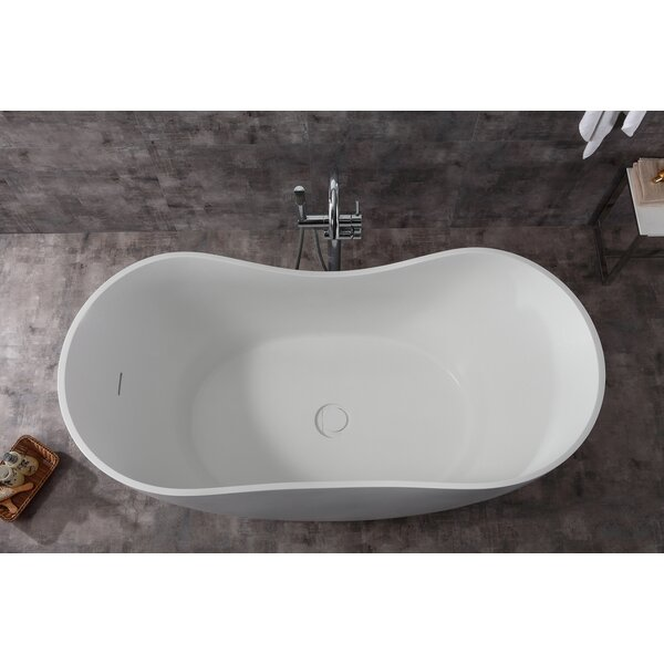 Solid Surface Smooth Resin 66 x31.5 Freestanding Soaking Bathtub by Alfi Brand