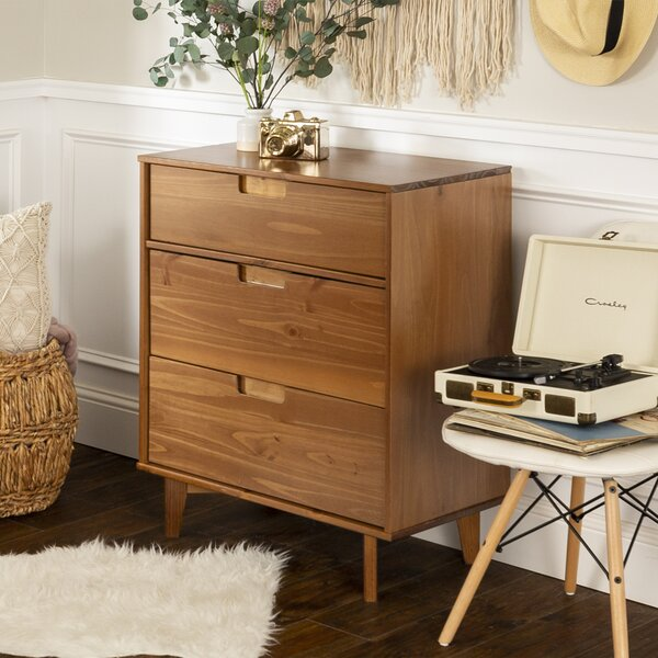 Carlisa Groove Handle Wood 3 Drawer Dresser by Hashtag Home