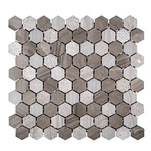 Misty Harbor 11.5 x 12 Patchwork Mosaic Tile in Gray by Kellani