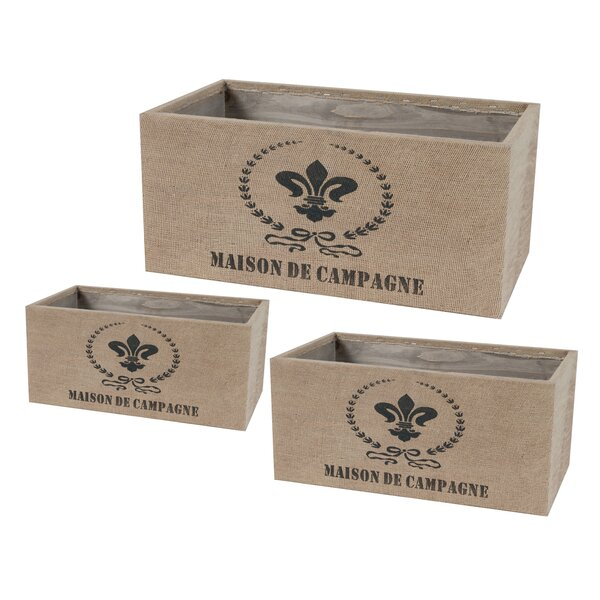 French 3-Piece Tin and Burlap Planter Box Set by ABC Home Collection