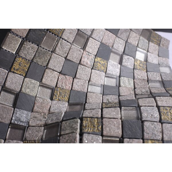 Rock Glass Mosaic Tile in Gray by Multile