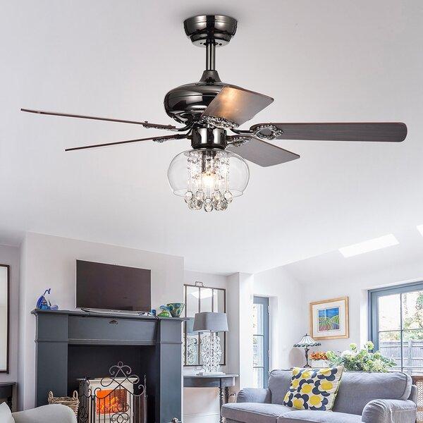 42 Lake Macquarie Crystal 5 Blade Ceiling Fan by House of Hampton