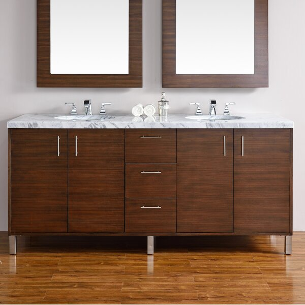 Cordie Modern 72 Double American Walnut Hardwood Base Bathroom Vanity Set by Orren Ellis