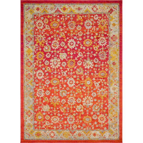 Ernst Rust Red/Gold Area Rug by Bungalow Rose