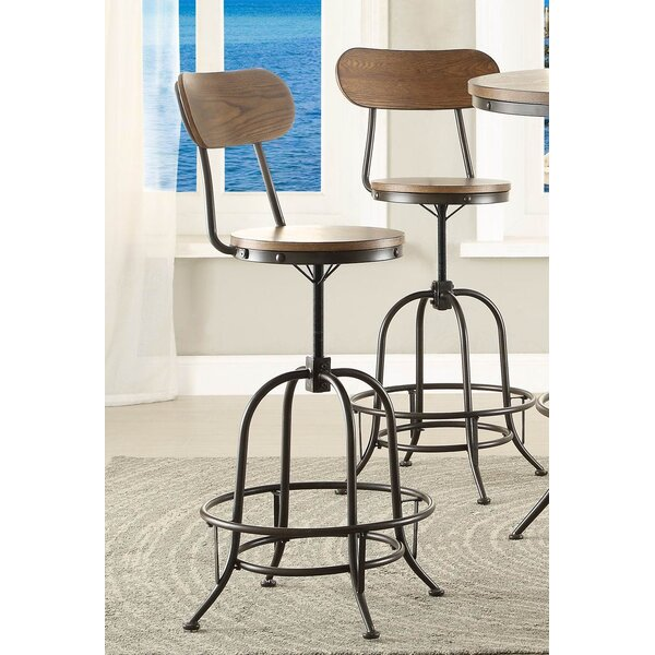 Lauren Wood/Metal Adjustable Height Swivel Bar Stool (Set of 2) by 17 Stories
