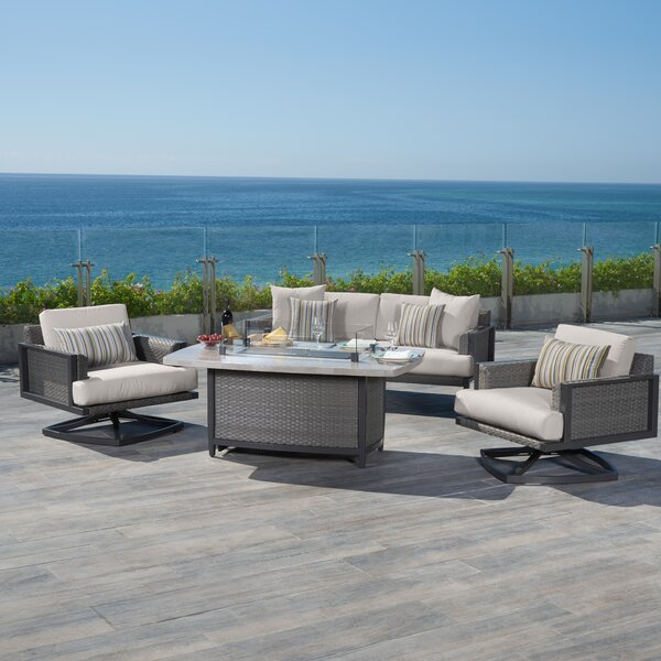 Messer 4 Piece Rattan Sunbrella Sofa Seating Group with Cushions by Rosecliff Heights