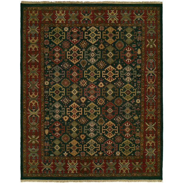 Lisbeth Flat Woven Wool Green/Red Area Rug by Loon Peak