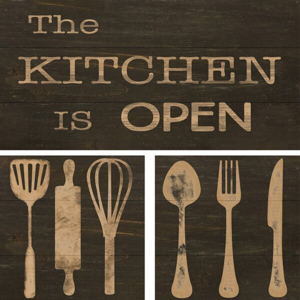 Open Kitchen 3 Piece Textual Art on Wood Set by PTM Images
