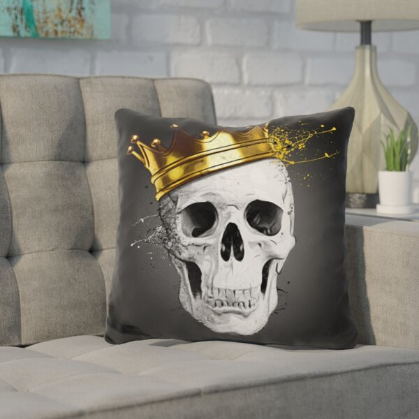 Kendricks Royal Skull Throw Pillow by Wrought Studio