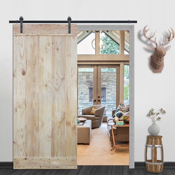 Plank Natural Solid Wood Paneled Pine Slab Interior Barn Door by Calhome