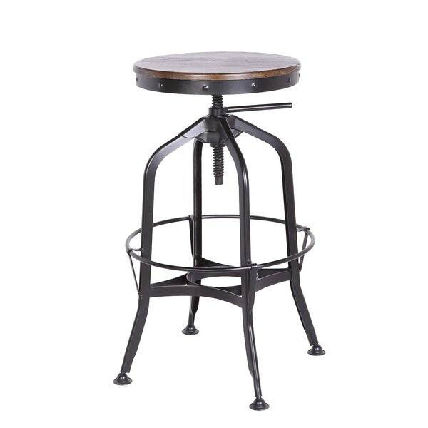 Swartz Metal Adjustable Height Swivel Bar Stool by Williston Forge Williston Forge