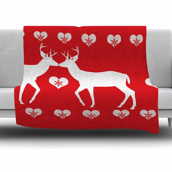 Christmas Deer 2 by Suzanne Carter Fleece Blanket by East Urban Home