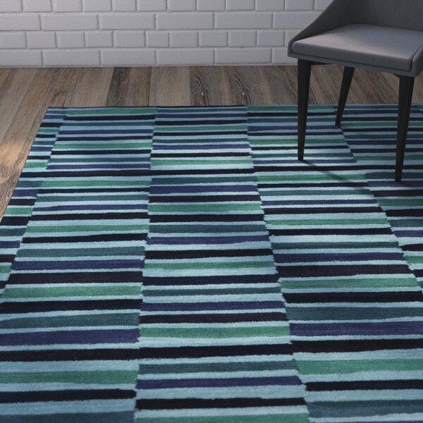 Futch Hand-Tufted Striped Blue Area Rug by Brayden Studio