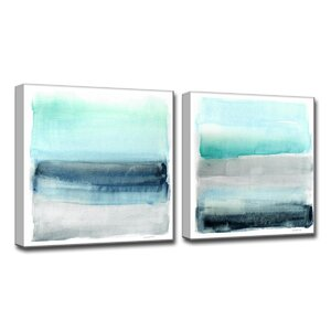 'Linear Energy I/II' by Norman Wyatt Jr. 2 Piece Painting Print on Wrapped Canvas Set by Ready2hangart