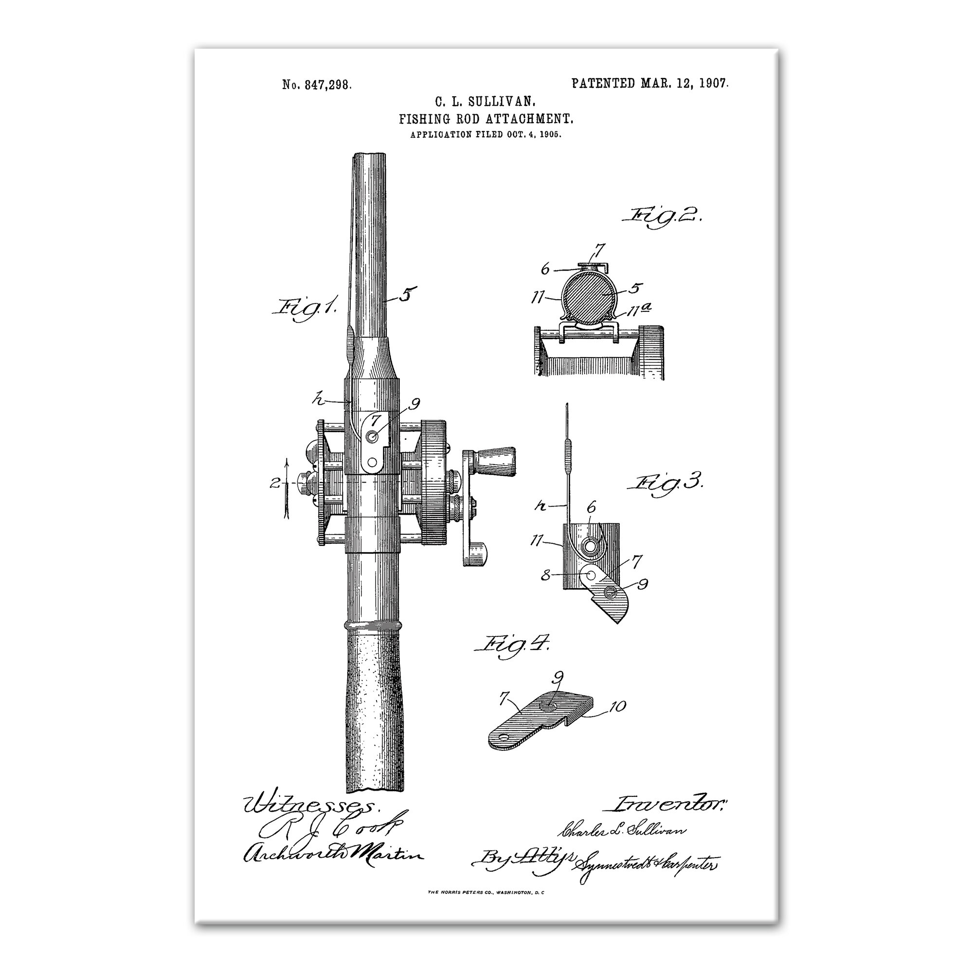 Novelties Gifts Fly Fishing Rod Reel Us Patent Technical Drawing Real Canvas Fish Art Print Sporting Goods Cub Co Jp