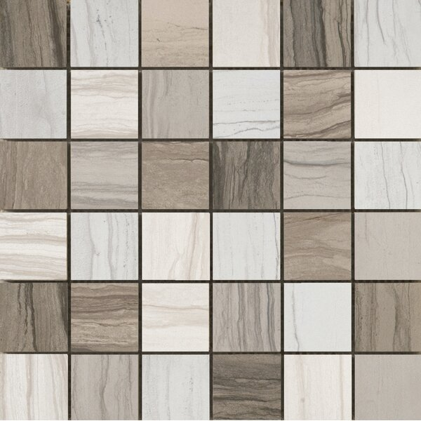 Motion 13 x 13 Porcelain Mosaic Tile in Gray/Ivory by Emser Tile