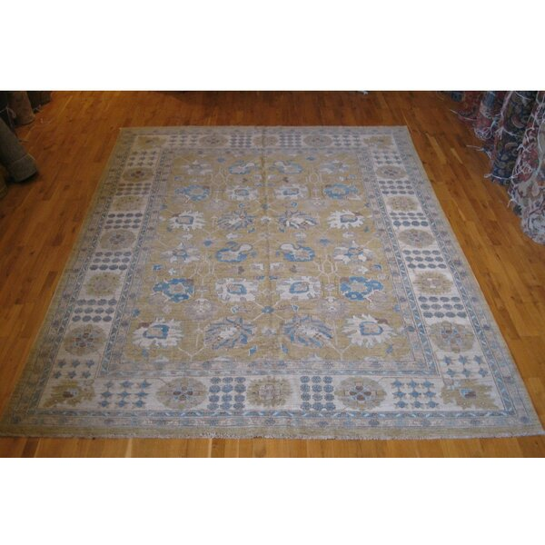 One-of-a-Kind Afghan Hand-Knotted Tan 9' x 12' Wool Area Rug