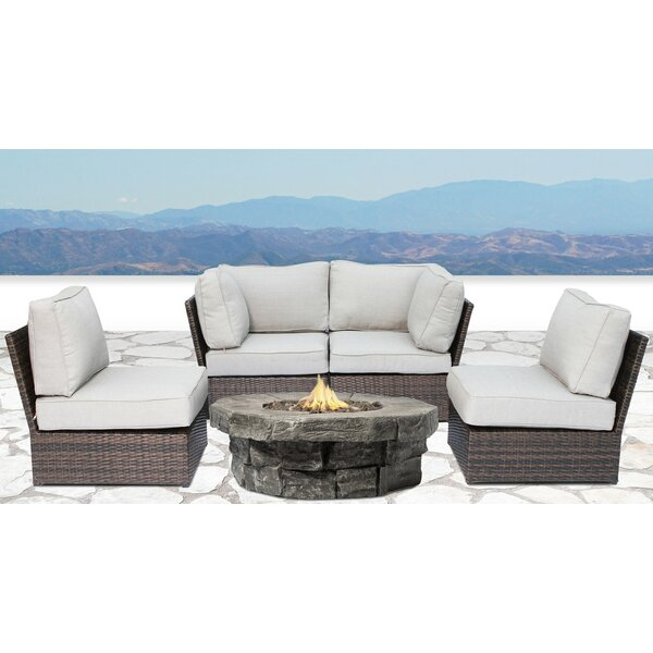 Winsford 5 Piece Sectional Set with Cushions by Rosecliff Heights