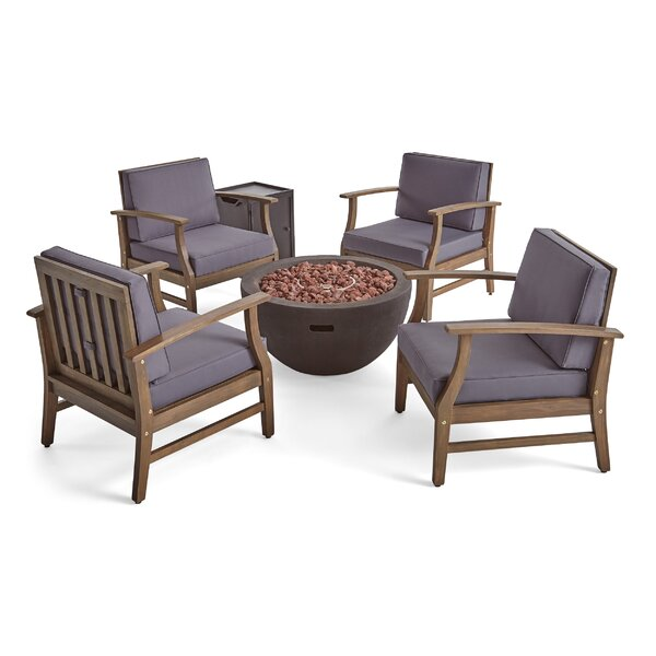 Brien Outdoor 6 Piece Multiple Chairs Seating Group with Cushions by Foundry Select
