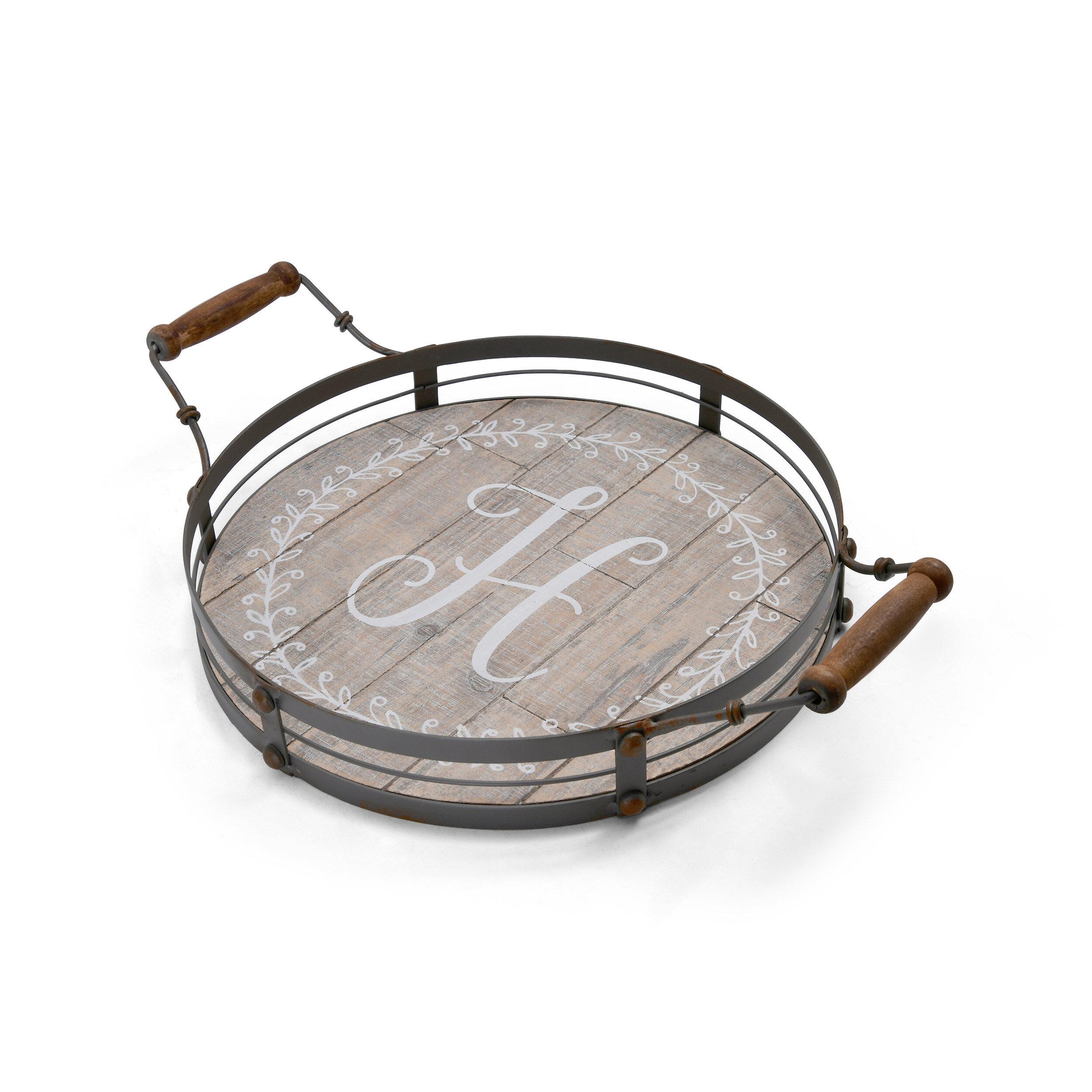Outstanding Nakita Round H Monogram Metal Accent Ottoman Tray Inzonedesignstudio Interior Chair Design Inzonedesignstudiocom