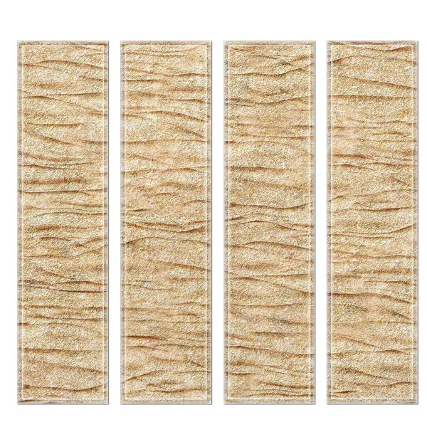 Crystal 3 x 12 Beveled Glass Subway Tile in Gold by Upscale Designs by EMA