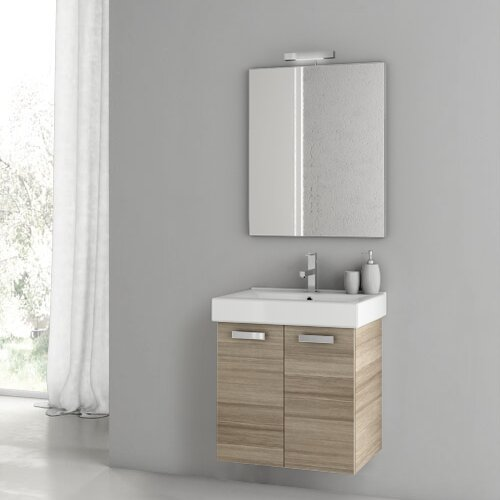 Cubical 24 Wall-Mounted Single Bathroom Vanity Set with Mirror by ACF Bathroom Vanities
