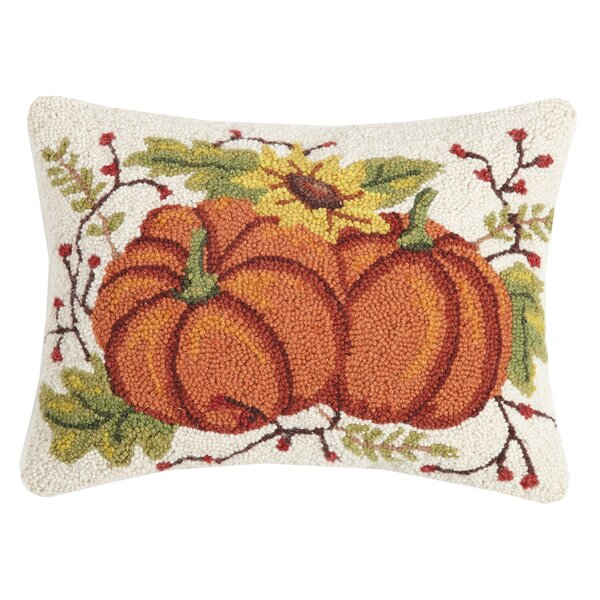 Munden Fall Pumpkin Duo Wool Throw Pillow by August Grove