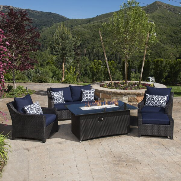 Northridge 5 Piece Rattan Sofa Set with Cushions by Three Posts