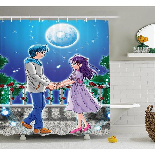 Anime Decor Romantic Manga Shower Curtain by East Urban Home