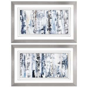 'Neutral Strata' 2 Piece Framed Watercolor Painting Print Set by Orren Ellis