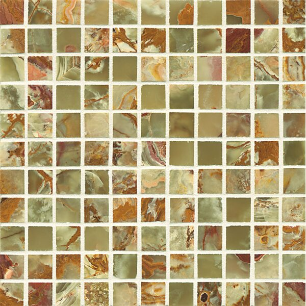 Onyx 1 x 1 Marble Mosaic Tile in Palisades Green by Bedrosians