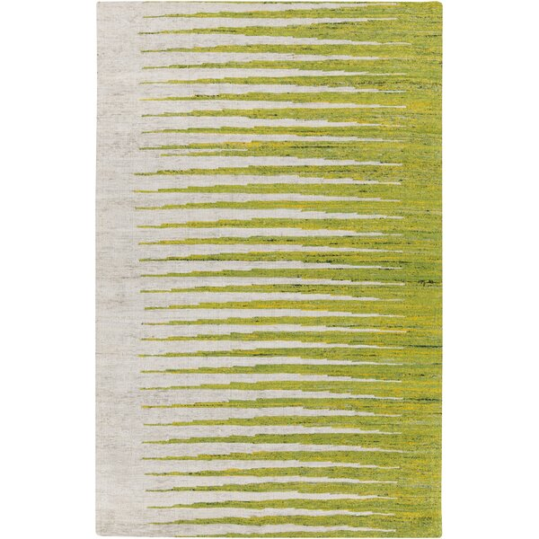 Vaughn Ivory/Lemon Striped Area Rug by Wrought Studio