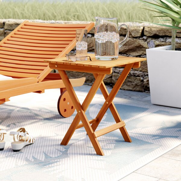 Nesler Folding Wooden Side Table by Beachcrest Home