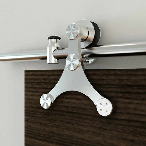 Stainless Steel Triangle Rolling Wood/Glass Barn Door Hardware Kit by Custom Service Hardware